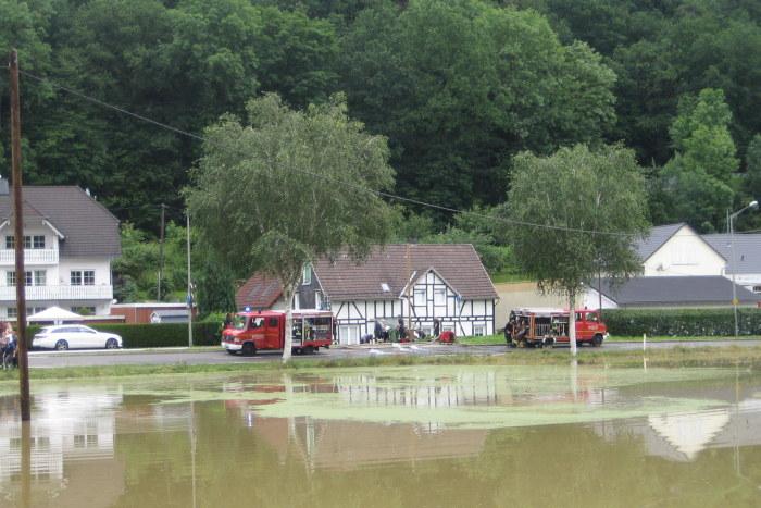 Nach der Überflutung von Brunohl durfte das Fachwerkhaus nicht betreten werden.