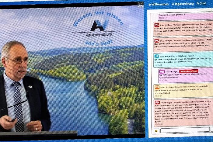 Screenshot des Chatverlauf zur Aggerverbandsversammlung.