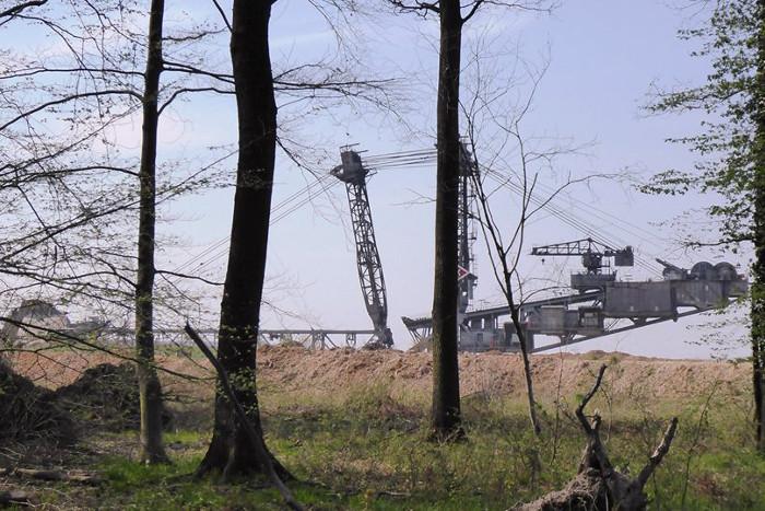 RWE-Bagger aus sicht des Hambacher Waldes.